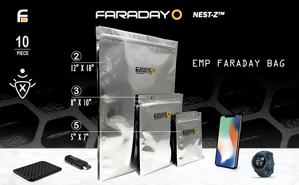 10 Piece Kit Faraday Bags